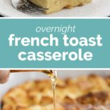 Overnight French Toast Casserole with text in the center