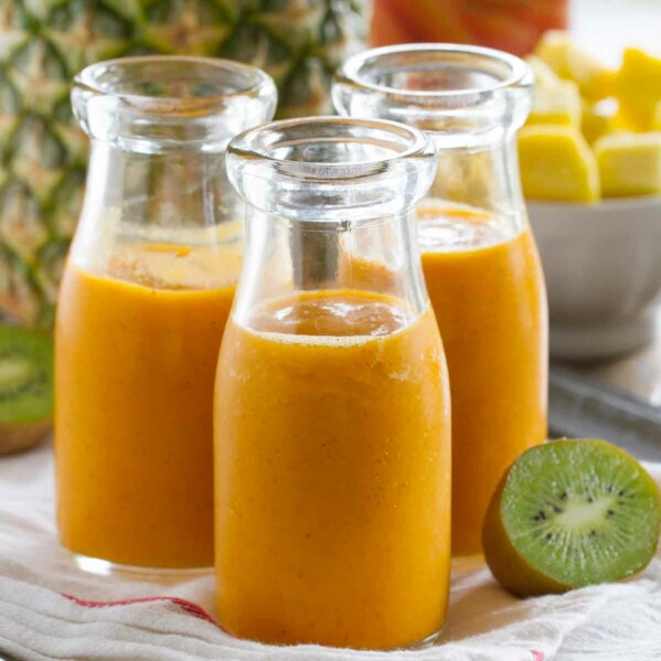 glasses of tropical carrot smoothie