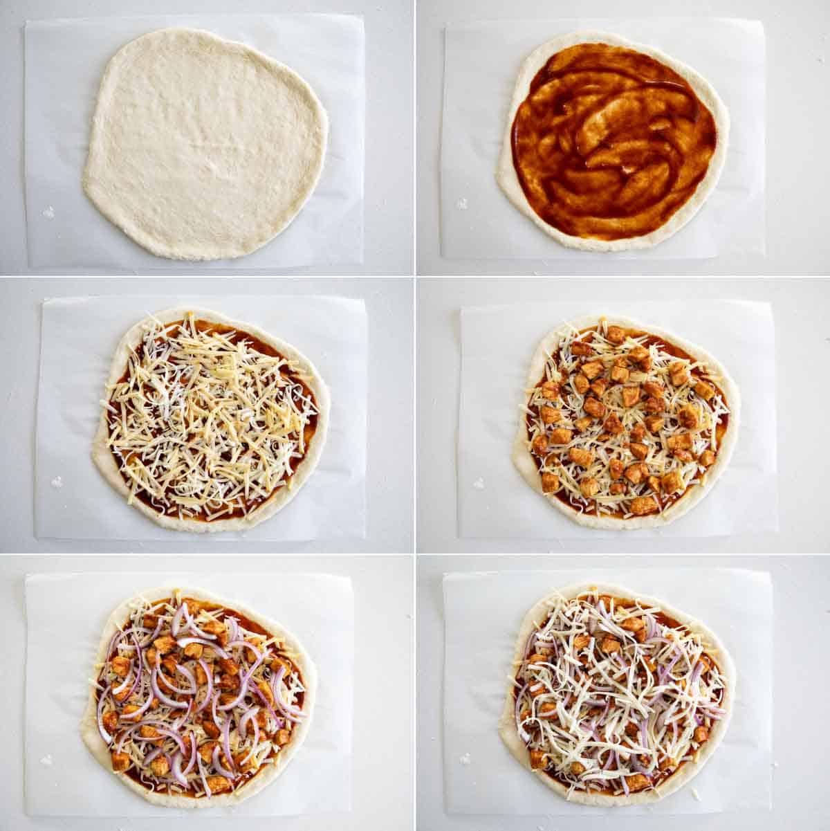 steps to make bbq chicken pizza