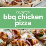 bbq chicken pizza with text in the center