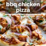 bbq chicken pizza with text overlay