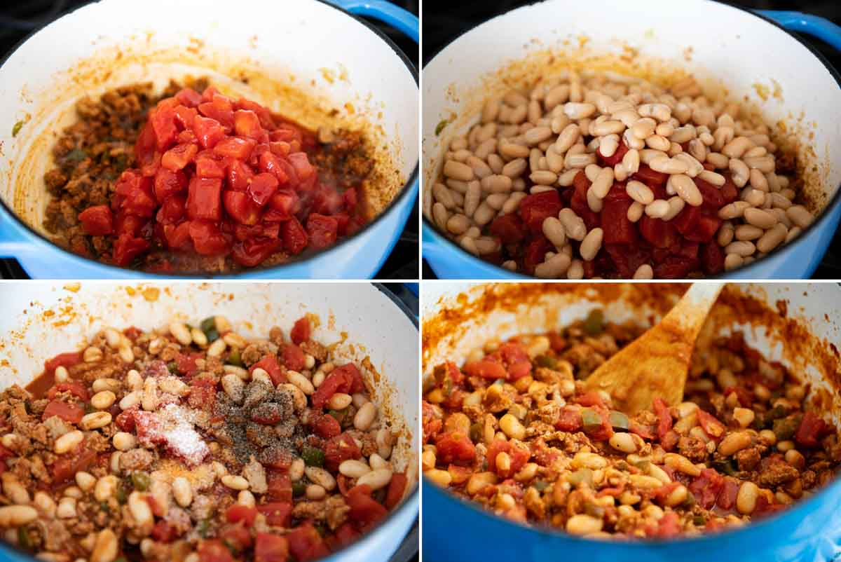 adding tomatoes and beans to ground turkey chili