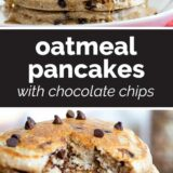 Oatmeal pancakes with chocolate chips with text in the center