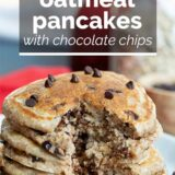 whole wheat oatmeal pancakes with text overlay