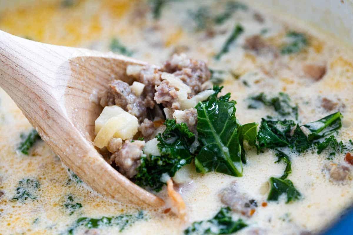 scoop of copycat olive garden zuppa toscana