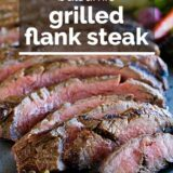 Balsamic Grilled Flank Steak with text overlay
