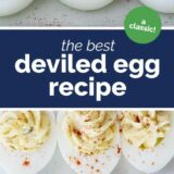 The Best Deviled Egg Recipe with text in the center