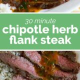 Chipotle Flank Steak with text in the center