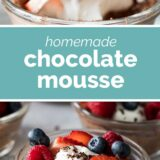 homemade chocolate mousse with text in the center