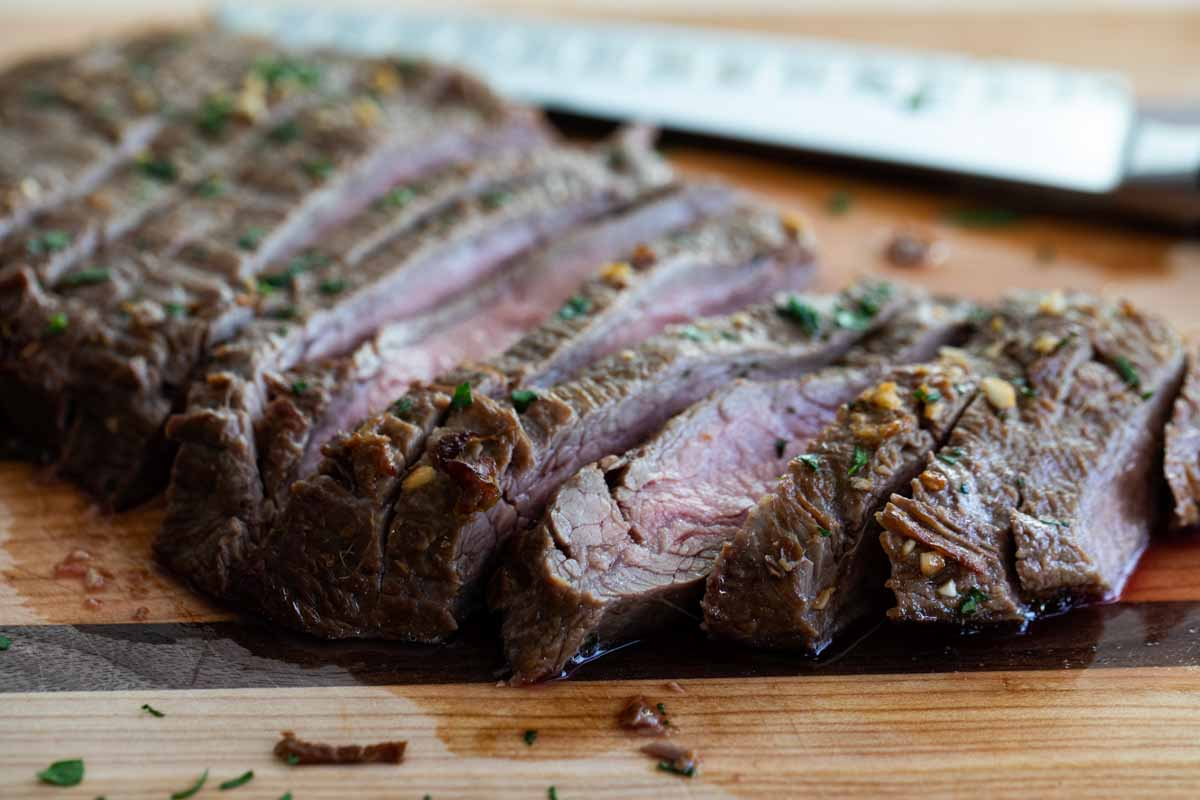 sliced flank steak on a cutting board