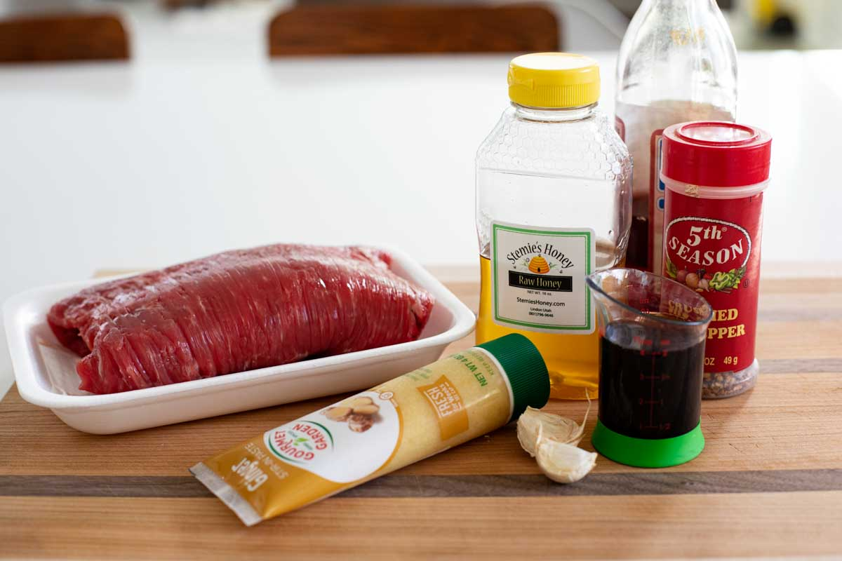 ingredients for flank steak marinade