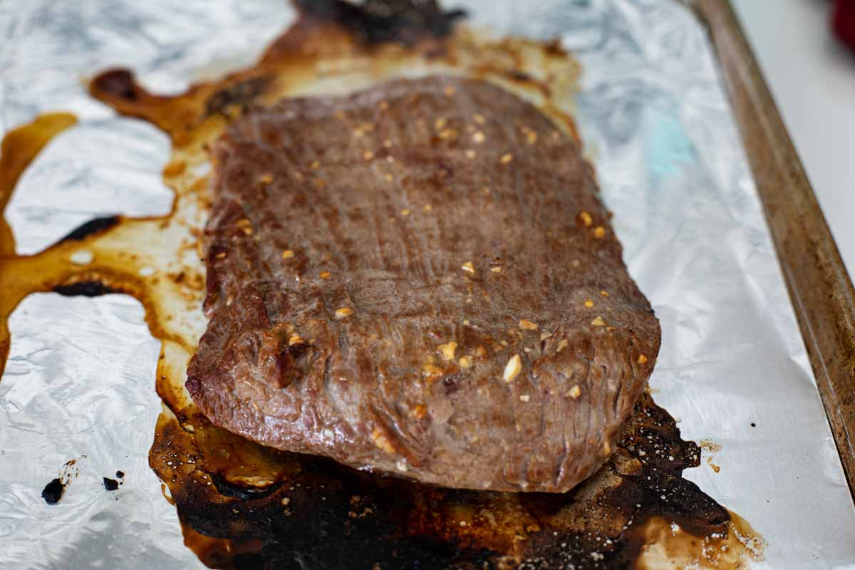 cooked flank steak with flank steak marinade