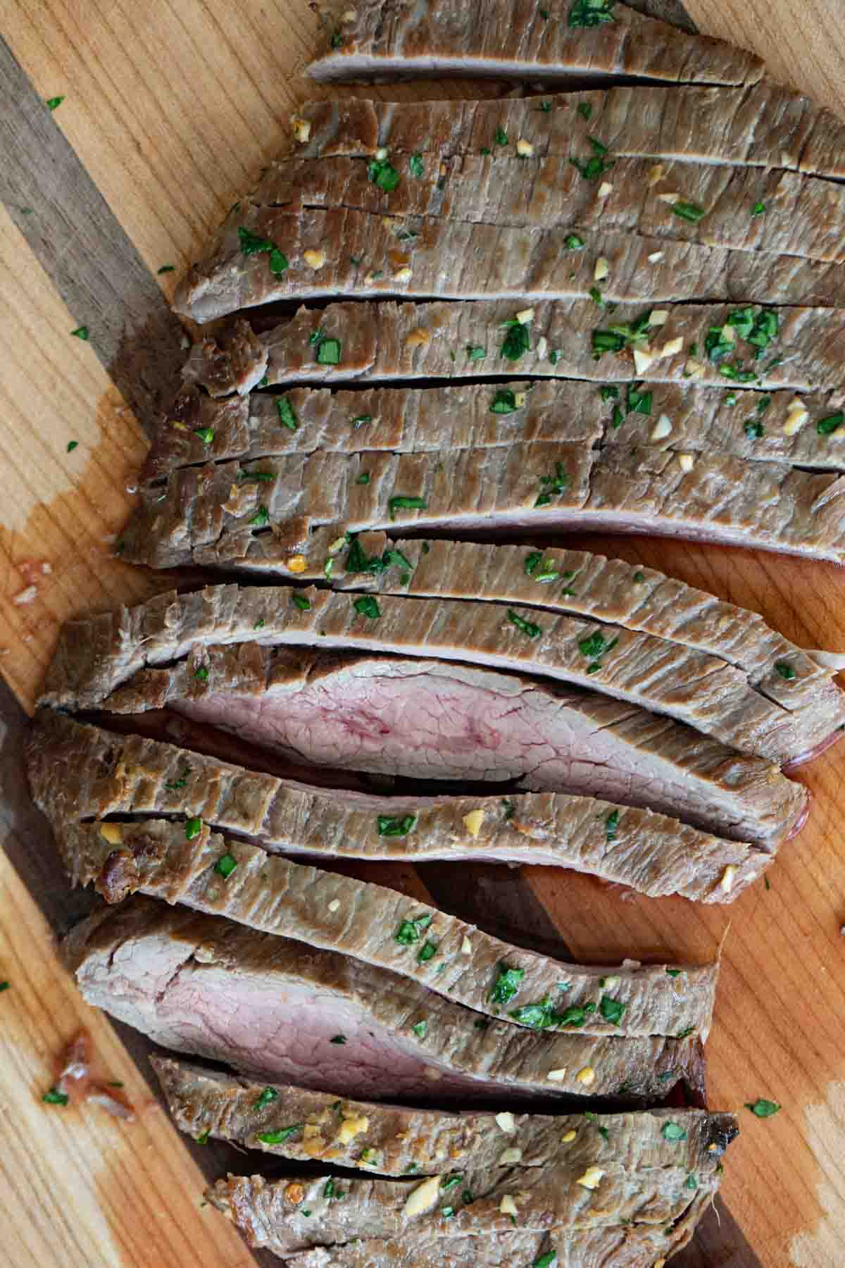 overhead view of sliced flank steak