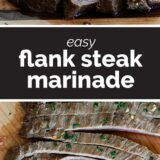Flank Steak Marinade with text in the center