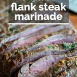 Flank Steak Marinade with text overlay