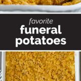 Funeral Potatoes with text in the center