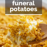 Funeral Potatoes with text overlay