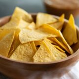 bowl of homemade tortilla chips in a bowl