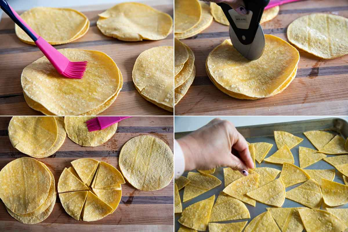steps to cut and prep tortillas for baked tortilla chips