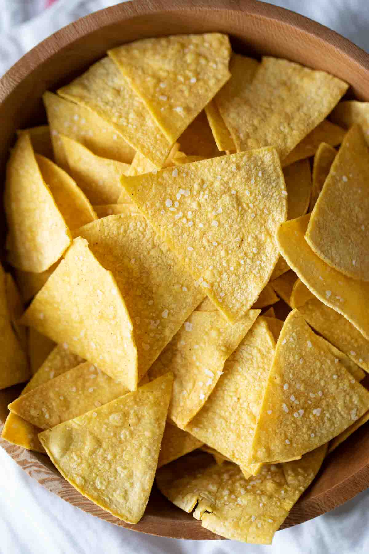overhead view of a bowl of tortilla chips