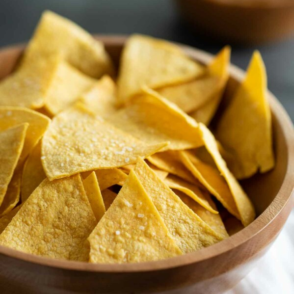 wooden bowl filled with homemade tortilla chips