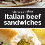 Italian Beef Sandwiches with text in the center