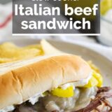 Italian Beef Sandwiches with text overlay