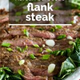 Korean Barbecue Flank Steak with text overlay