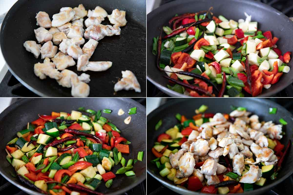 cooking chicken and vegetables for kung pao chicken