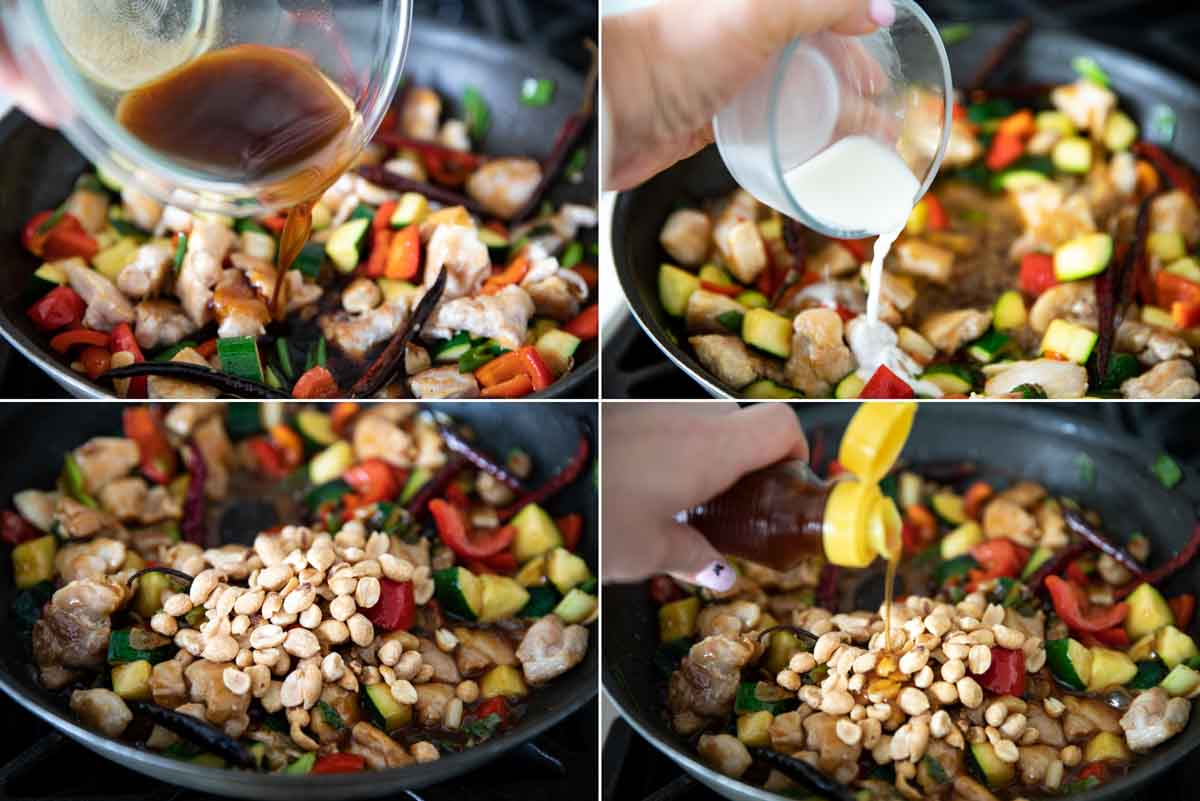 adding the sauce to kung pao chicken
