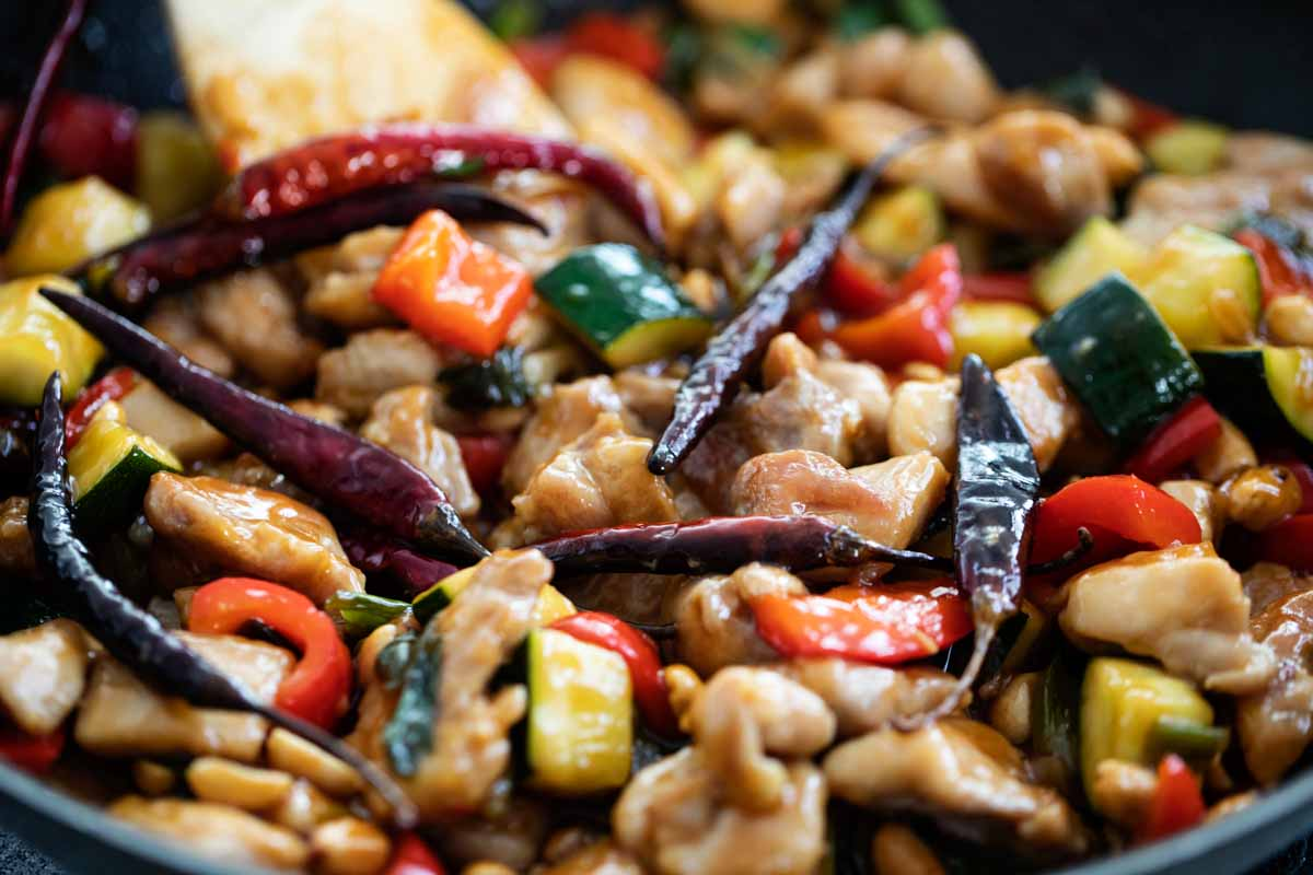 pan of finished kung pao chicken