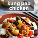 Kung Pao Chicken with text overlay