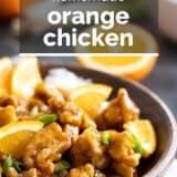 Orange Chicken with text overlay