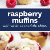 raspberry muffins with white chocolate chips with text in the center