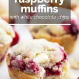 raspberry muffins with white chocolate chips with text overlay