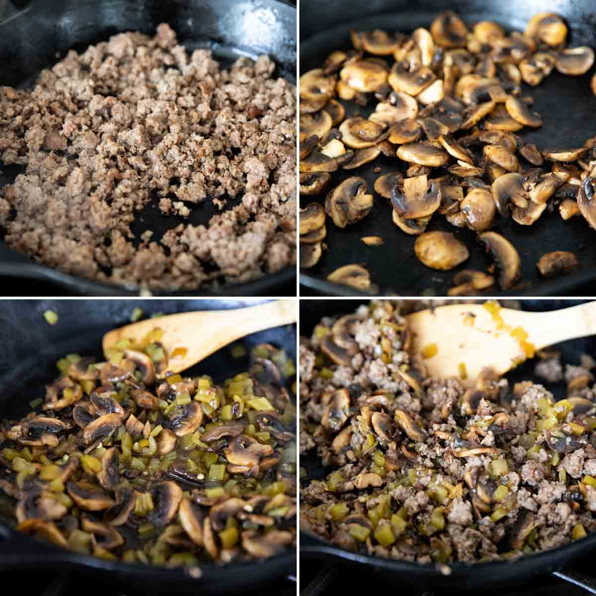 cooking sausage, mushrooms and green chiles