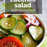 Zucchini Salad with Tomatoes with Text Overlay
