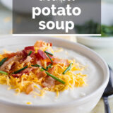 Crockpot potato soup with text overlay