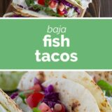 Baja Fish Tacos with text in the middle