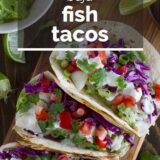 Baja Fish Tacos with text overlay
