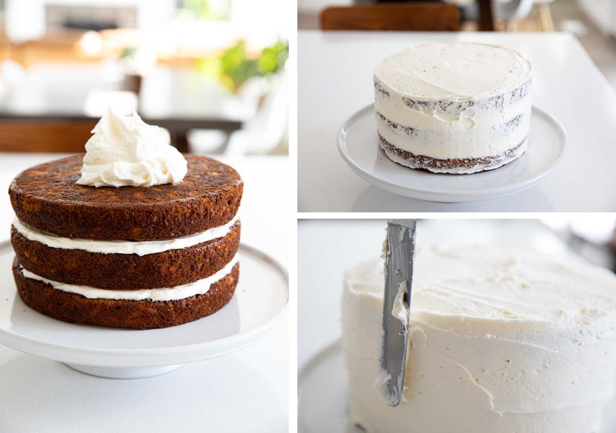 frosting a carrot cake with cream cheese frosting