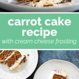 carrot cake with text in the center