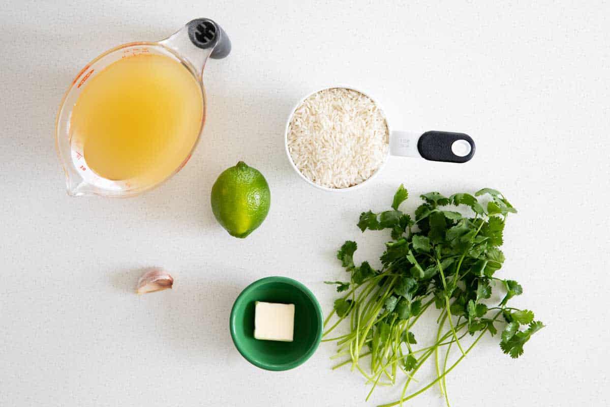 ingredients to make cilantro lime rice