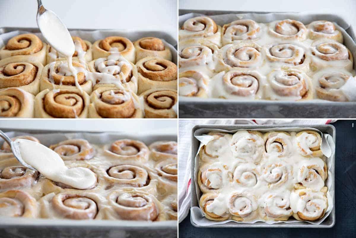 spreading icing on cinnamon rolls