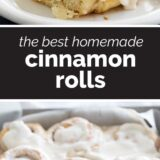 The Best Cinnamon Rolls with text in the center