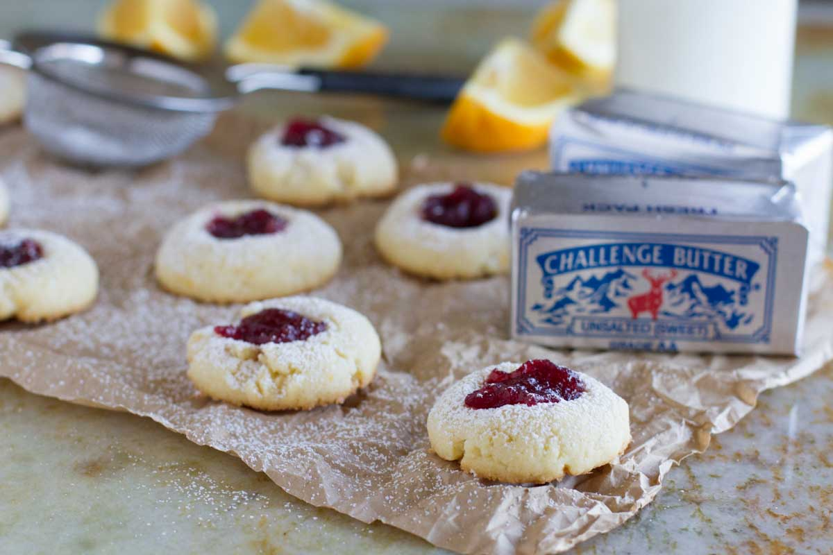 Cranberry filled thumbprint cookies