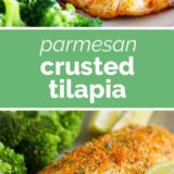 Parmesan Crusted Tilapia with text in the center