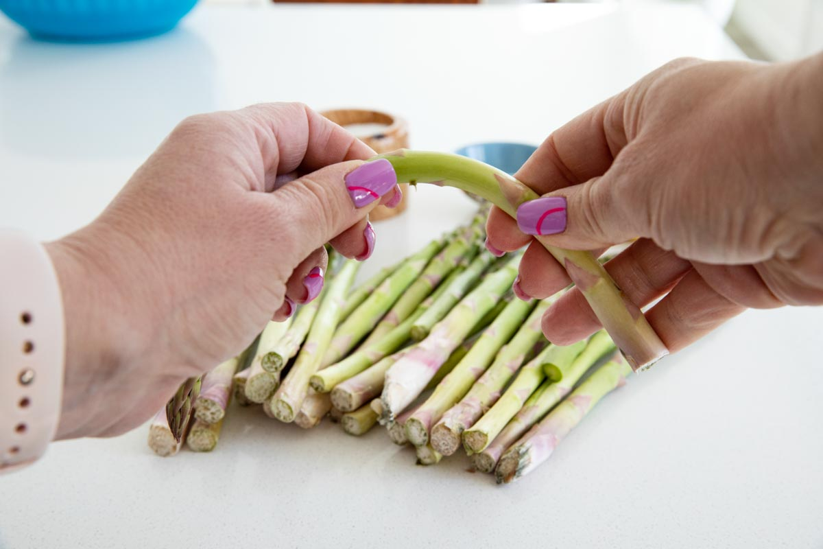 visual showing how to snap asparagus for prepping