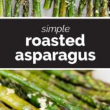 simple roasted asparagus with text in the middle