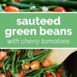 Sauteed Green Beans with text in the center